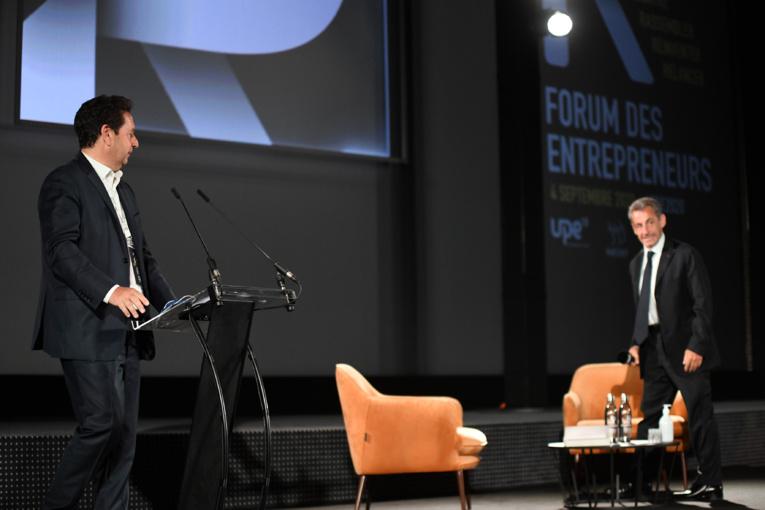 Philippe Korcia, président de l'Upe 13, accueille l'ancien président de la république Nicolas Sarkozy