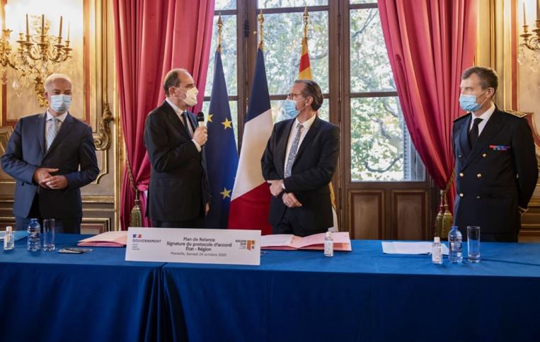 Le 24 octobre 2020, le Premier ministre Jean Castex et Renaud Muselier ont signé en préfecture de Région un protocole d'accord de 64 M€ pour financer des projets concrets en région PACA. ©CA