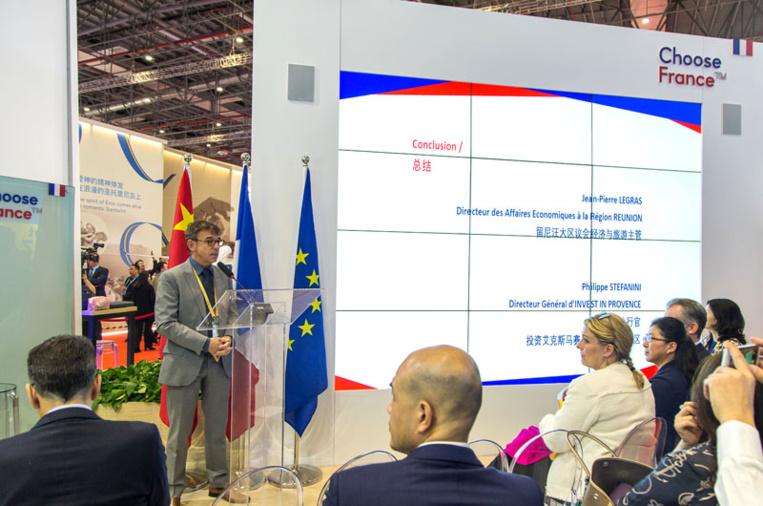 Intervention de Philippe Stéfanini, DG de Provence Promotion, à l'occasion du China International Import Expo et du séminaire Choose France en 2019 à Shanghai. Photo©DR