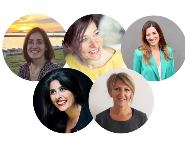 En haut, de g à dr : Clémence Fernandez, Stéphanie Le Rouzic, Amélie Coulombe. En bas, de g à dr : Erminda Gallo, Nicole Agosti. Photos ©DR