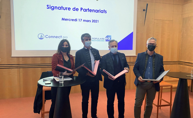 Catherine Gineste, Membre de la CCIAMP, Franck Paoli, Président de Connect Pro, Jean-Luc Blanc, Vice-Président de la CCIAMP et Jean-Pierre Miquelis, Directeur du Développement de la Banque Populaire Méditerranée