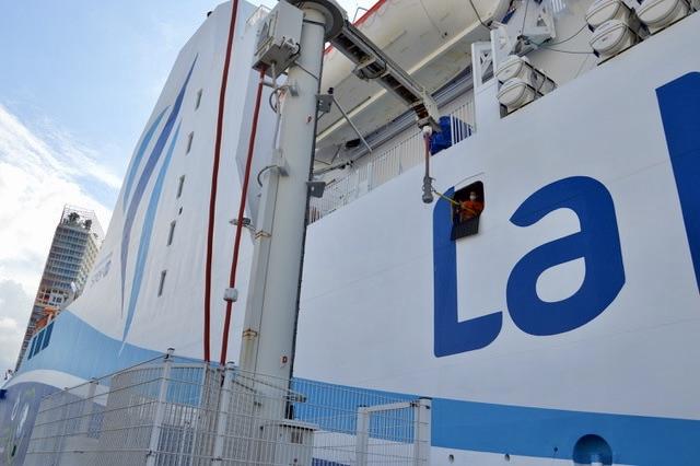 Première compagnie française à se connecter au courant de quai en janvier 2017, la Méridionale teste à présent le filtre à particules. ©NBC