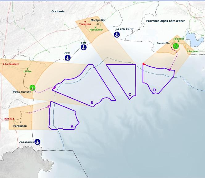 Les quatre macro-zones maritimes et les points de raccordement pressentis (carte : CNDP)