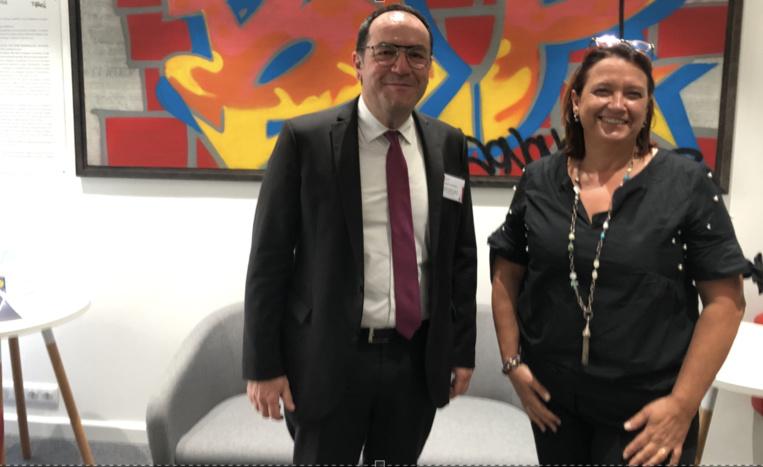 Antoine Jeandet, DGA d'Erilia et Isabelle Lonchampt, présidente de la FBTP 13