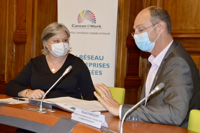 Anne-Sophie Tuszynski, fonadtrice et présidente de Cancer@Work et Hervé d'Harcourt, membre du directoire de La Caisse d'Épargne CEPAC, en charge du Pôle Ressources. ©NBC