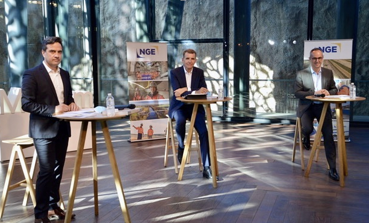 De G. à dte : Jean Bernardet, directeur général de NGE, Antoine Metzger, président et Jean-Sébastien Léoni, directeur général adjoint de NGE au Mucem, dont ils sont mécènes. ©NBC