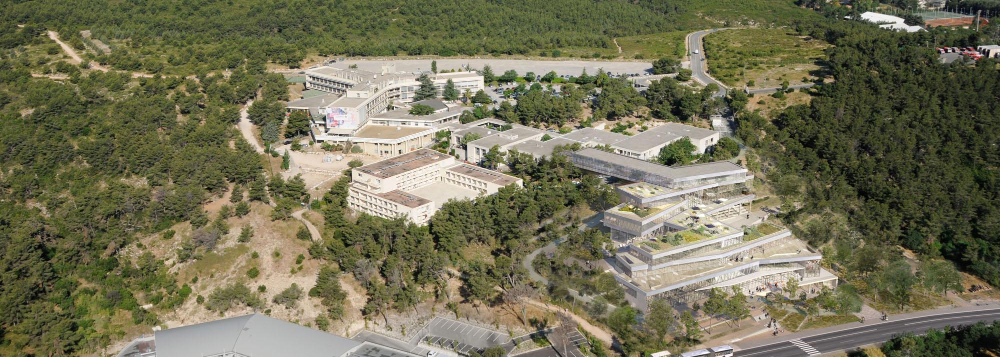 Vue aérienne du campus  Kedge Business School de Luminy©DR