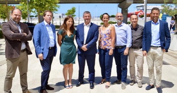 Gérald Kothe, directeur de MSC pour le Sud de la France, élu président de l'Association des agents maritimes et consignataires de navires de Marseille-Fos (AACN) ce 29 juin 2021 entouré des membres du nouveau bureau. ©NBC