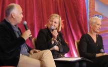 Frédéric Pithoud (Editag), Julia Santi (animatrice) et Corinne Versini (Genes'Ink) - Photo JC Barla